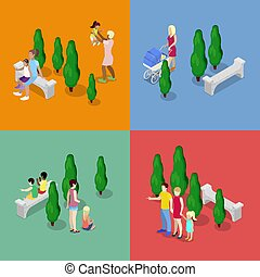 Children Walking with Parents. Happy Family concept. Isometric vector flat 3d illustration