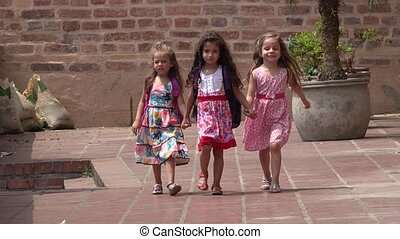 Children Walking Young Girls