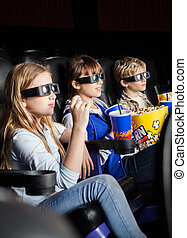 Children Watching 3D Movie In Theater