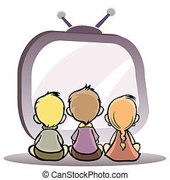 Children watching tv - Vector illustration of a children...
