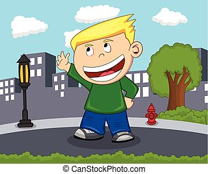 Children waving his hand cartoon