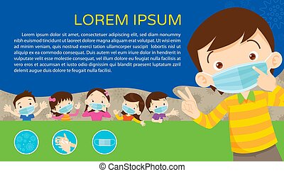 children wear a medical face mask with copy space for banner