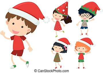 Children wearing christmas hats