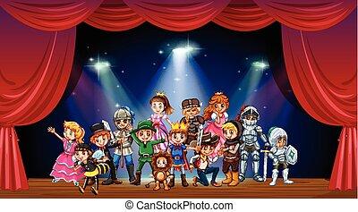 Children wearing costume on stage illustration