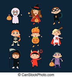 Children Wearing Halloween Costumes Vector Illustration