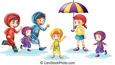 Children wearing raincoats in rainy season illustration