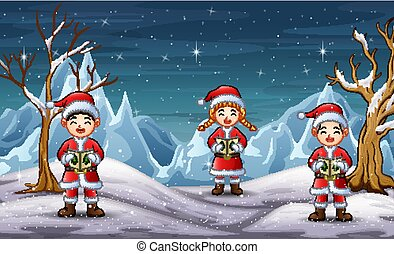 Children wearing santa costume singing in north pole background