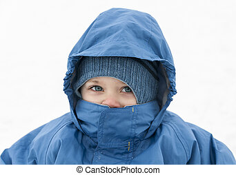 Children wearing winter clothes on white background - ...