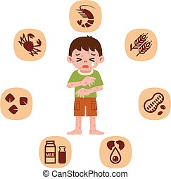 Children who suffer from allergies - Vector illustration. ...