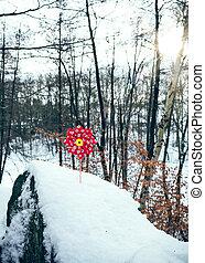 Children windmill in the snow
