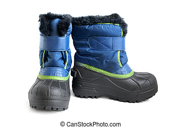 Children winter boot on a white background