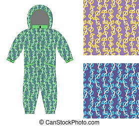 Children winter coverall template with an abstract pattern. Set of seamless textures for baby clothes. Geometric shapes background.