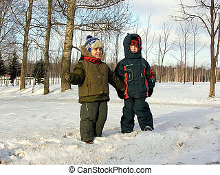 children., winter.