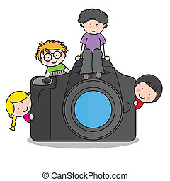 children with a camera. Funny vector, isolated on white background
