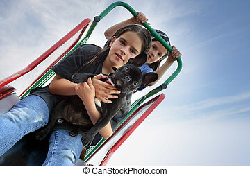 Children with a dog on a slide