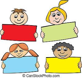 children with a piece of paper - primary school, children's...