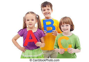 Children with abc letters - School children with abc letters...