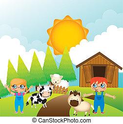 children with animals farm