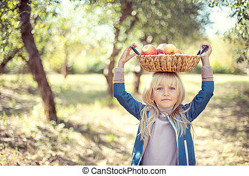Children with Apple in Orchard. Harvest Concept.