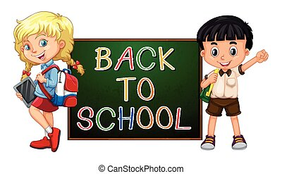 Children with back to school sign