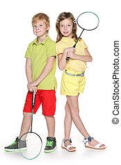 Children with badminton racket