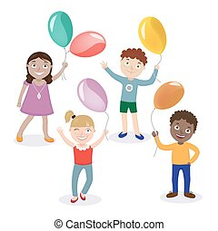 Children with Balloons. Happy Children. Boy with Balloon. Girl with Balloon. Vector illustration