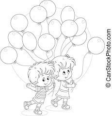 Children with balloons - Little girl and boy walking with ...