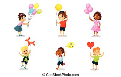 Children with balloons. Vector illustration on a white background.