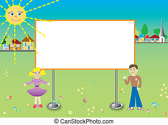Kids with billboards, white space for text