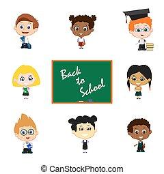 Children with blackboard