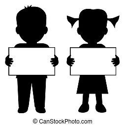 Children with blank banner