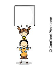 children with Blank Signs
