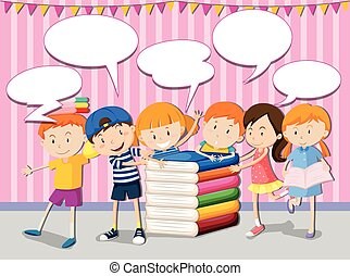 Children with books and speech bubbles