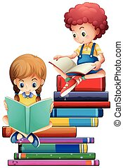 Children with books on white background