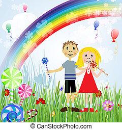 Children with candies