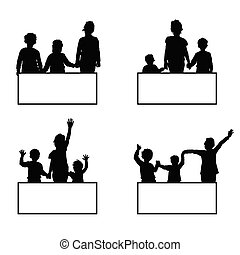 children with card set illustration