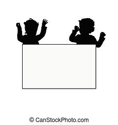 children with card silhouette illustration