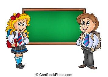 Children with chalkboard 2 - color illustration.