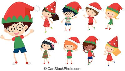 Children with christmas hats