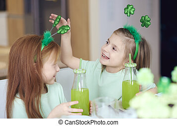 Children with cocktail having a fun