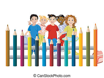 Children with colored pencils
