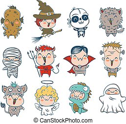 children with costumes for Halloween