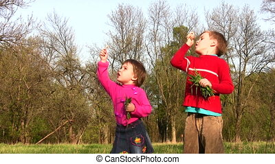children with dandelion