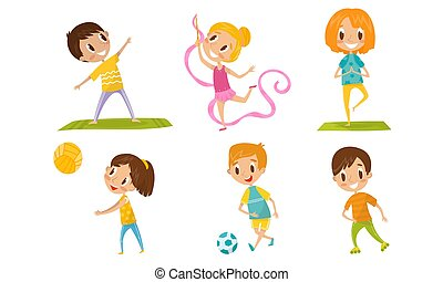Children With Different Kind Of Physical Activities Concept Vector Illustration Set