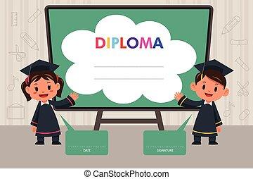 Children with Diploma Template - A vector illustration of...