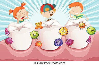 Children with dirty teeth