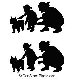 children with dog and mother silhouette illustration