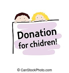 children with donation transparent color illustration