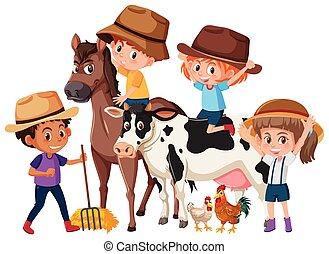 Children with farm animals