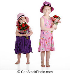 children with flowers
